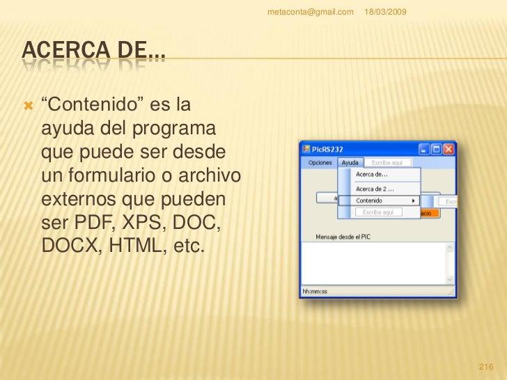 """metaconta@gmail.com   18/03/2009     ACERCA DE…    """"Contenido"""" lo     queremos arriba, así     que, pincha sin soltar    ..."""