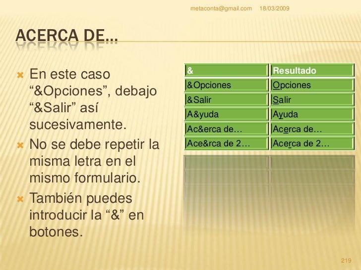 metaconta@gmail.com   18/03/2009     ACERCA DE…     Vamos a introducir el     código Close();     pinchando dos veces    ...
