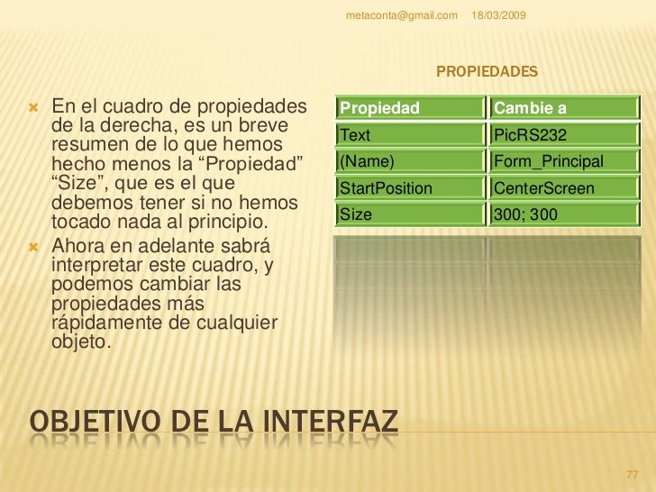 "metaconta@gmail.com   18/03/2009     OBJETIVO DE LA INTERFAZ    En la ventana de     ""Cuadro de     herramientas"" pulsa e..."