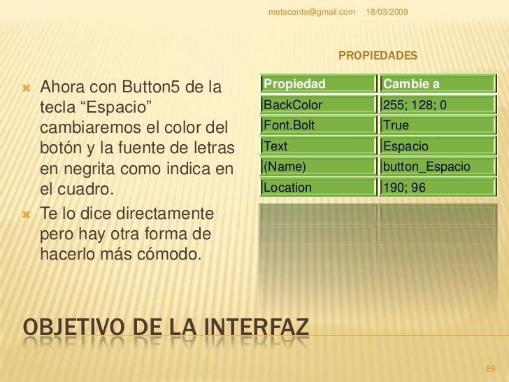 """metaconta@gmail.com   18/03/2009     OBJETIVO DE LA INTERFAZ     En el """"button5 o     ahora""""button_Espacio""""     , haz cli..."""