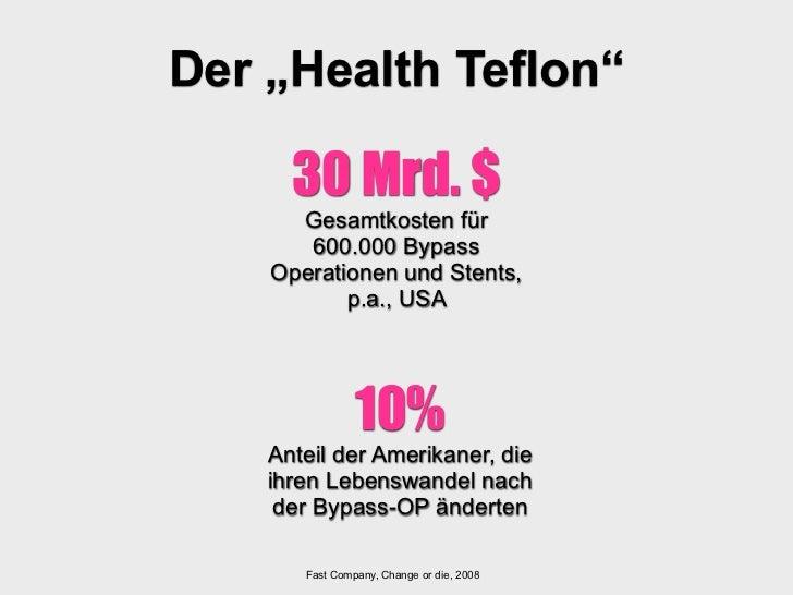 """Der """"Health Teflon""""      30 Mrd. $      Gesamtkosten für       600.000 Bypass    Operationen und Stents,           p.a., U..."""