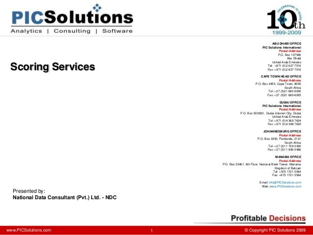 www.PICSolutions.com © Copyright PIC Solutions 2009 ABU DHABI OFFICE PIC Solutions International Postal Address P.O. Box...