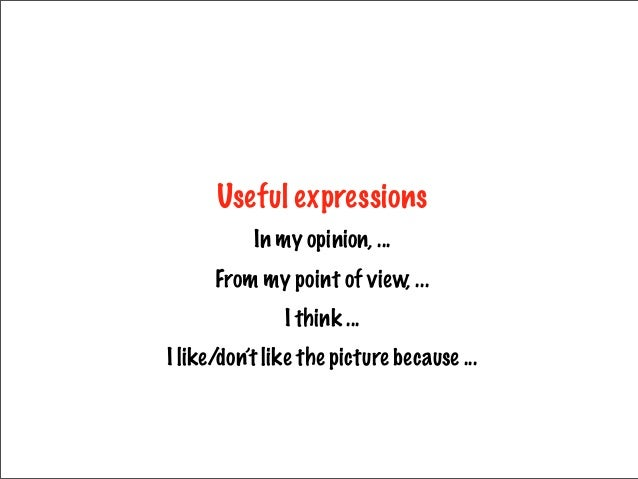 Useful expressions In my opinion, ... From my point of view, ... I think ... I like/don't like the picture because ...