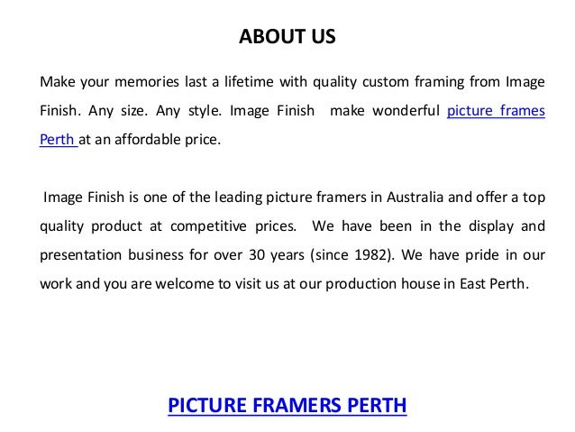 Picture Framers Perth - Image Finish