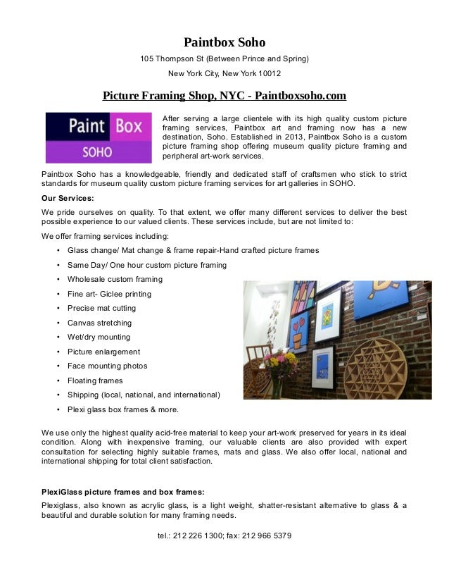 Custom picture framing nyc – paintboxsoho