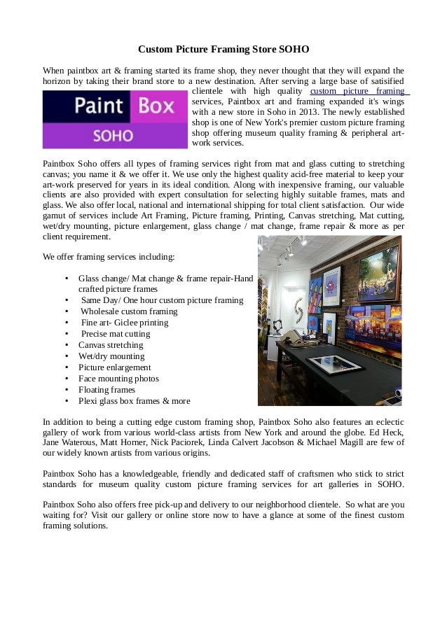 Custom Framing Store NYC – Paintboxsoho.com