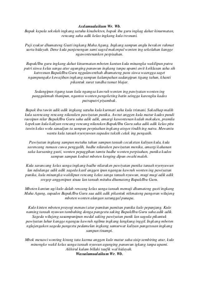 Pidato Bahasa Jawa Perpisahan Sekolah
