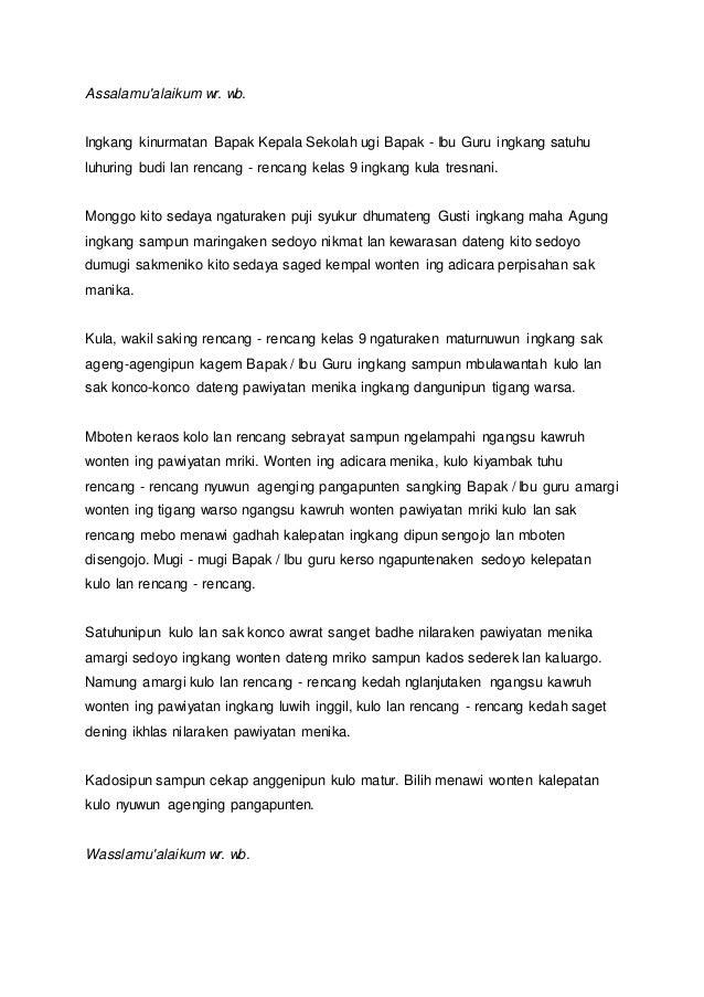 Kumpulan Teks Pidato Perpisahan Kelas 9 Bahasa Jawa Kumpulan Referensi Teks Pidato