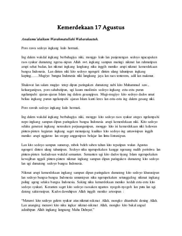 Pidato kemerdekaan 17 agustus bhs. jawa