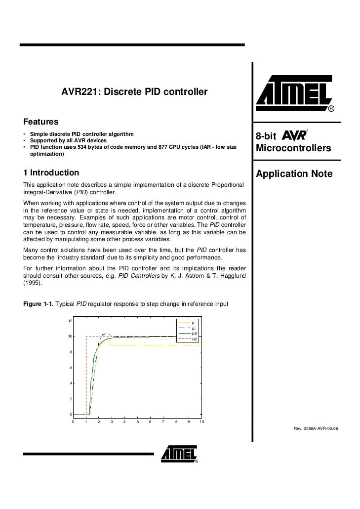 AVR221: Discrete PID controllerFeatures• Simple discrete PID controller algorithm• Supported by all AVR devices           ...