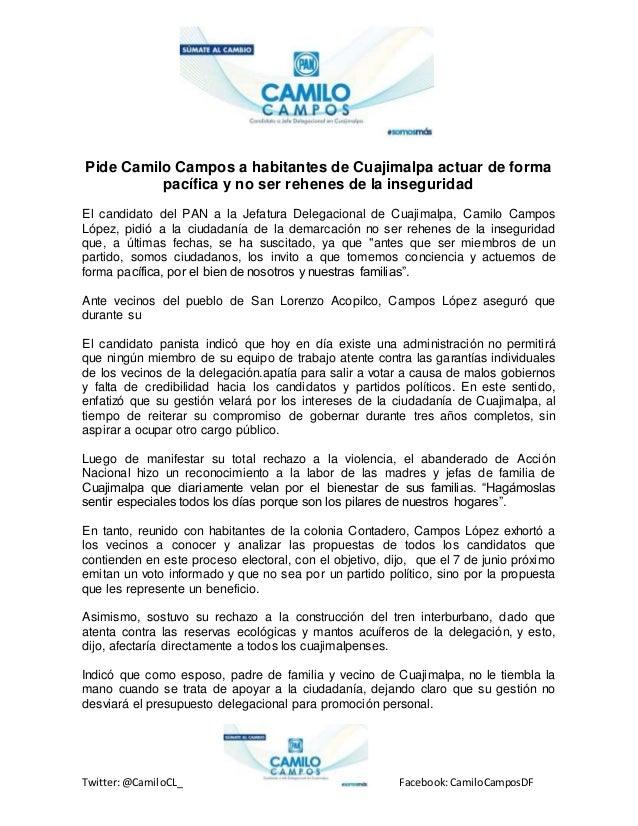 Twitter:@CamiloCL_ Facebook:CamiloCamposDF Pide Camilo Campos a habitantes de Cuajimalpa actuar de forma pacífica y no ser...