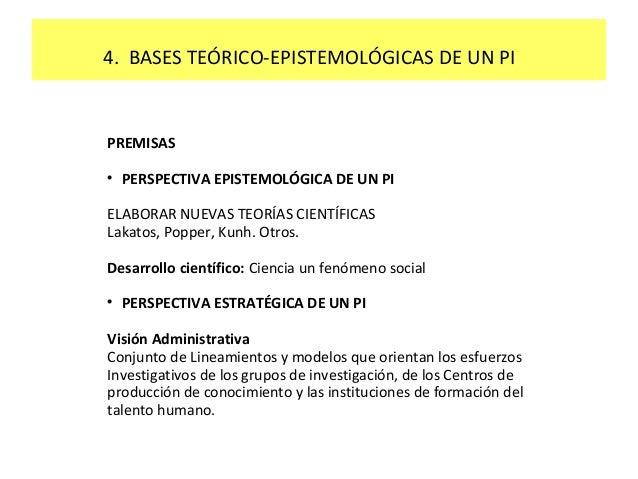 4. BASES TEÓRICO-EPISTEMOLÓGICAS DE UN PI  PREMISAS   PERSPECTIVA EPISTEMOLÓGICA DE UN PI  ELABORAR NUEVAS TEORÍAS CIENTÍ...