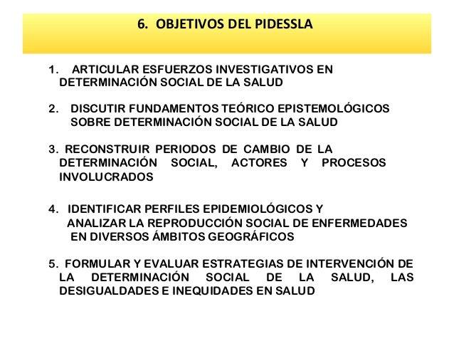 6. OBJETIVOS DEL PIDESSLA 1. 2.  ARTICULAR ESFUERZOS INVESTIGATIVOS EN DETERMINACIÓN SOCIAL DE LA SALUD DISCUTIR FUNDAMENT...