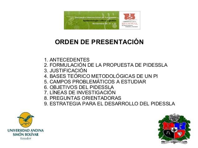 ORDEN DE PRESENTACIÓN 1. ANTECEDENTES 2. FORMULACIÓN DE LA PROPUESTA DE PIDESSLA 3. JUSTIFICACIÓN 4. BASES TEÓRICO METODOL...