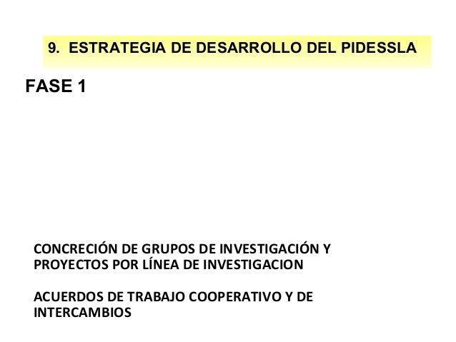 9. ESTRATEGIA DE DESARROLLO DEL PIDESSLA  FASE 1  CONCRECIÓN DE GRUPOS DE INVESTIGACIÓN Y PROYECTOS POR LÍNEA DE INVESTIGA...