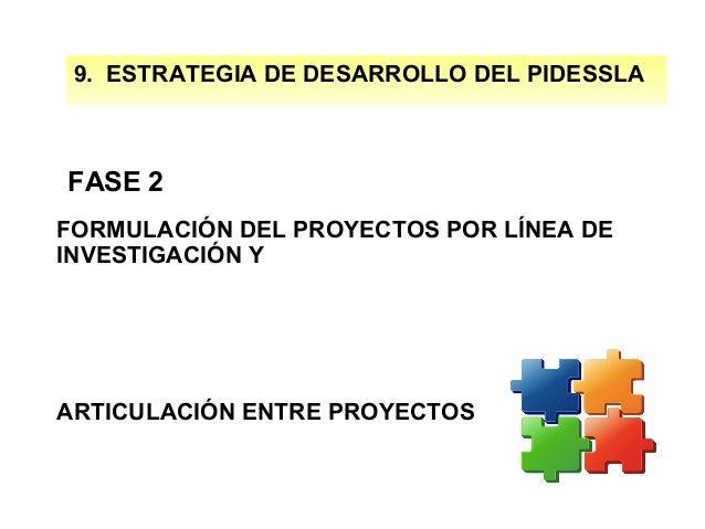 9  9. ESTRATEGIA DE DESARROLLO DEL PIDESSLA  FASE 2 FORMULACIÓN DEL PROYECTOS POR LÍNEA DE INVESTIGACIÓN Y  ARTICULACIÓN E...