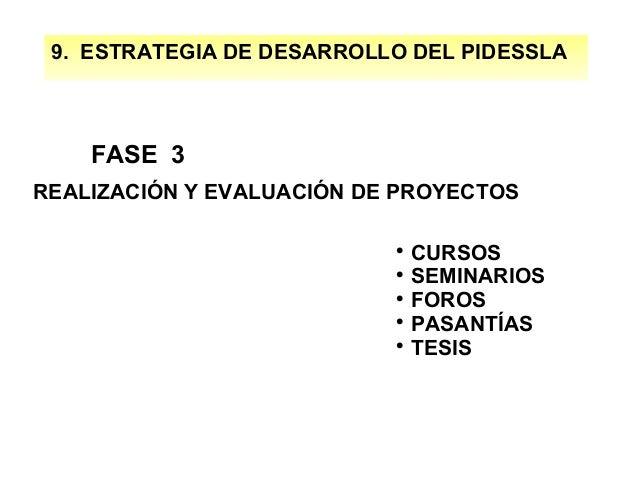 9. ESTRATEGIA DE DESARROLLO DEL PIDESSLA  FASE 3 REALIZACIÓN Y EVALUACIÓN DE PROYECTOS CURSOS  SEMINARIOS  FOROS  PASAN...