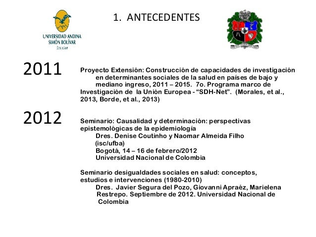 1. ANTECEDENTES  2011 2012  Proyecto Extensión: Construcción de capacidades de investigación en determinantes sociales de ...