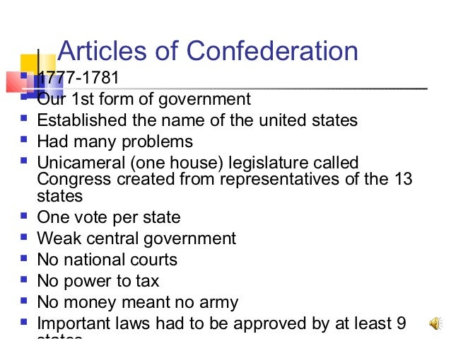 an introduction to the history of the articles of confederation The articles of confederation: an interpretation of the social-constitutional history of the american revolution, 1774-1781.