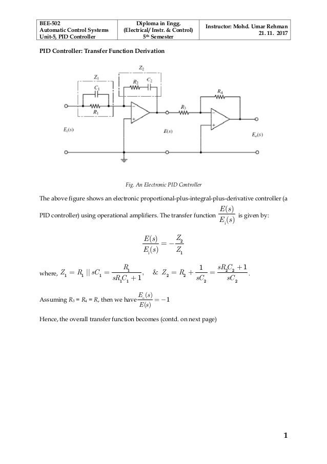 PID Controller Transfer Function
