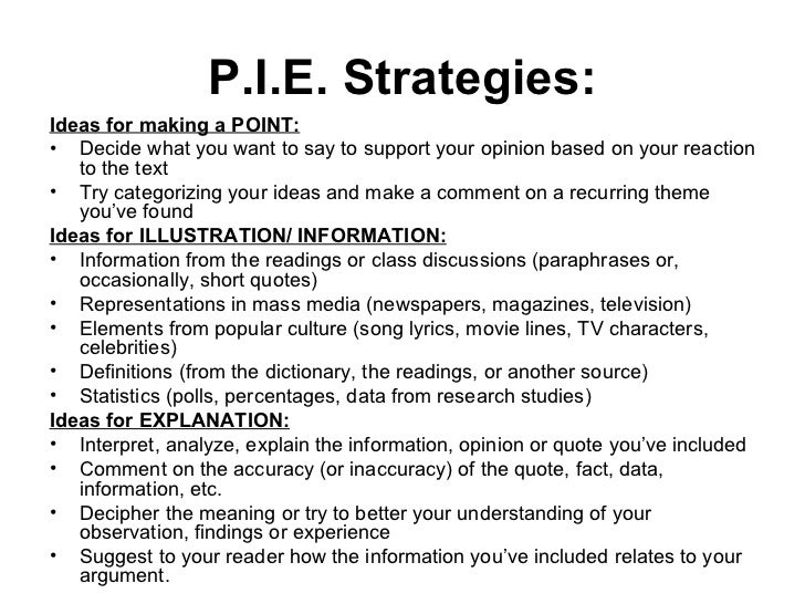 what does pie stand for in writing