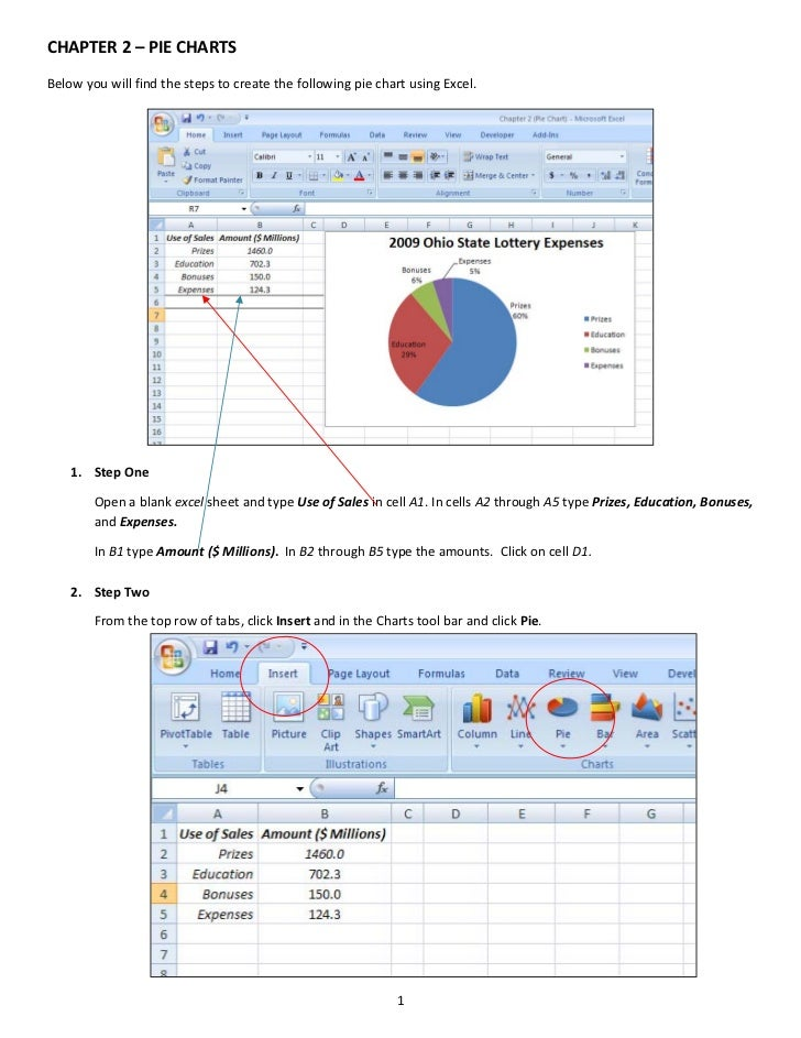 CHAPTER 2 – PIE CHARTS  Below you will find the steps to create the following pie chart using Excel.                      ...