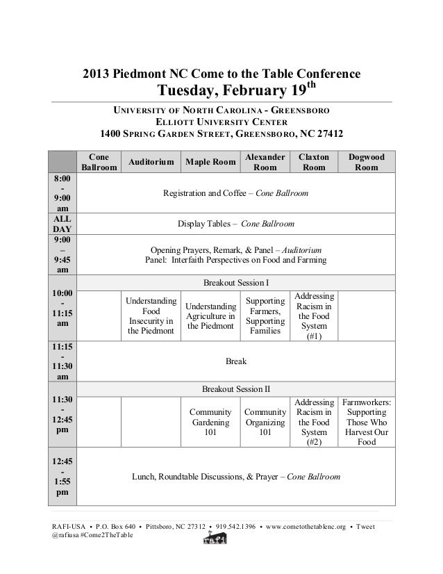 2013 Piedmont NC Come to the Table Conference                              Tuesday, February 19th                 UNIVERSI...
