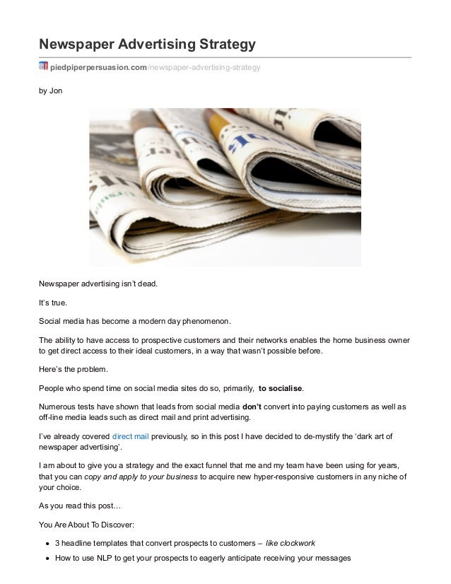 A Unique Newspaper Advertising Strategy To Find Customers Easily