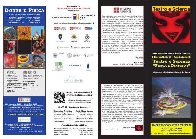 """Teatro e Scienza Ambasciatori della Terza Cultura FESTIVAL 2019 - XII EDIZIONE Teatro e Scienza """"FISICA E DINTORNI"""" L'Emoz..."""