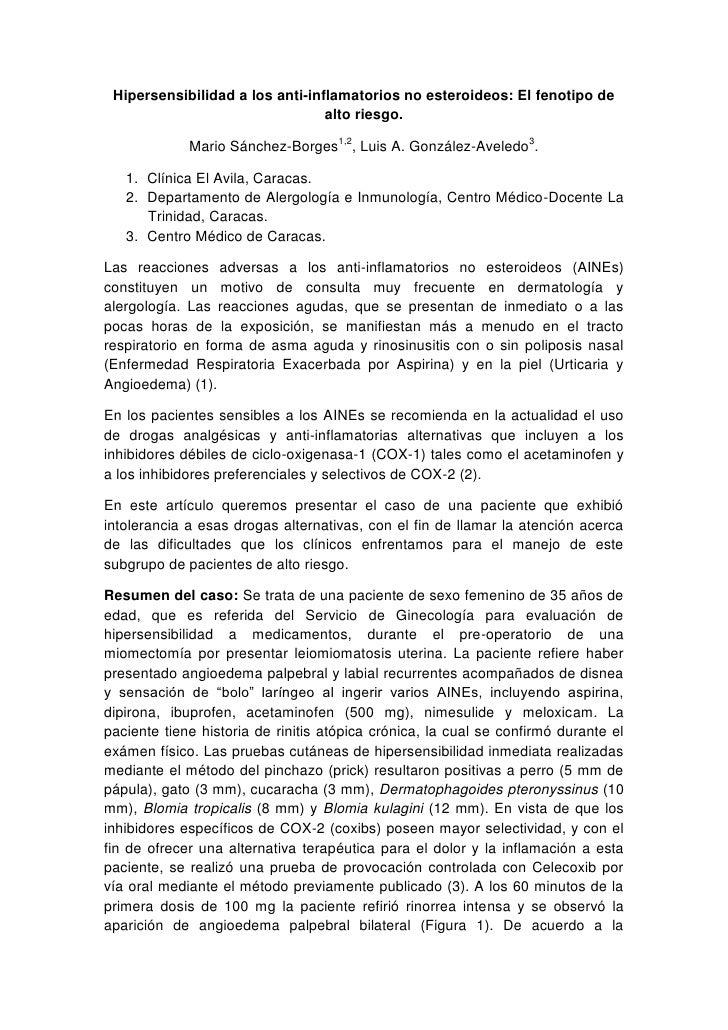 Hipersensibilidad a los anti-inflamatorios no esteroideos: El fenotipo de                                  alto riesgo.   ...