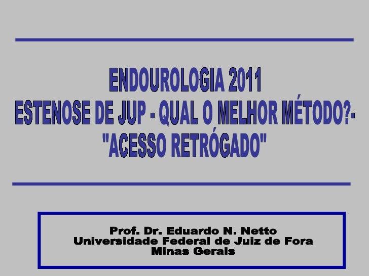 """ENDOUROLOGIA 2011 ESTENOSE DE JUP - QUAL O MELHOR MÉTODO?-  """"ACESSO RETRÓGADO"""" Prof. Dr. Eduardo N. Netto Univer..."""