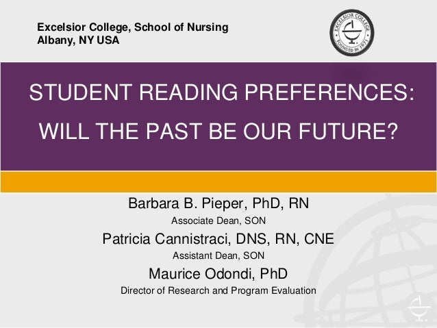 STUDENT READING PREFERENCES: WILL THE PAST BE OUR FUTURE? Barbara B. Pieper, PhD, RN Associate Dean, SON Patricia Cannistr...