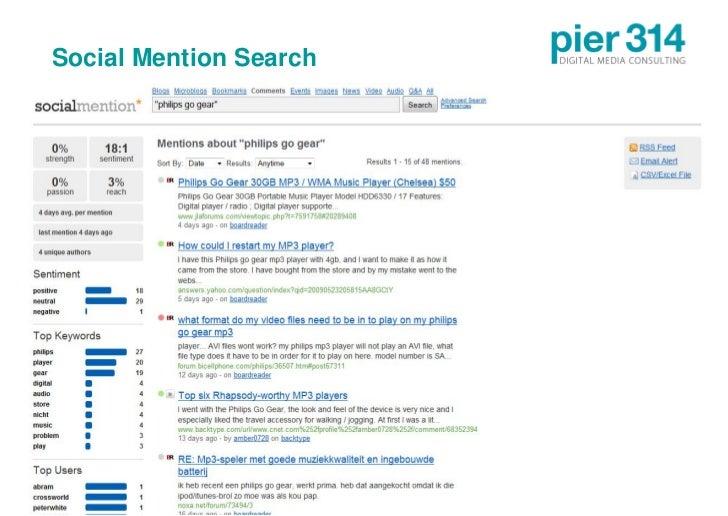 Social Mention Search     © 2009 pier314 GmbH      18