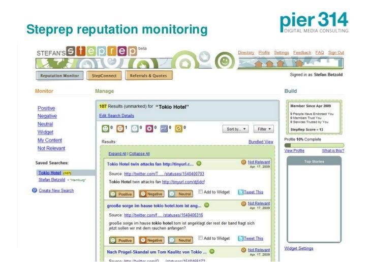 Steprep reputation monitoring     © 2009 pier314 GmbH              22
