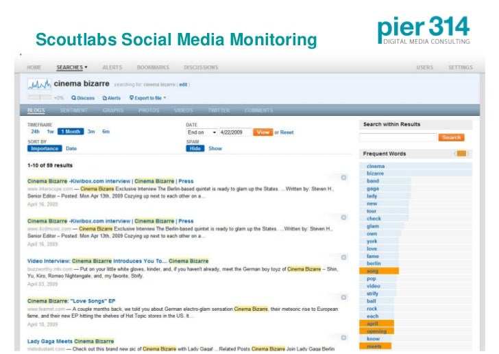 Scoutlabs Social Media Monitoring     © 2009 pier314 GmbH                  25