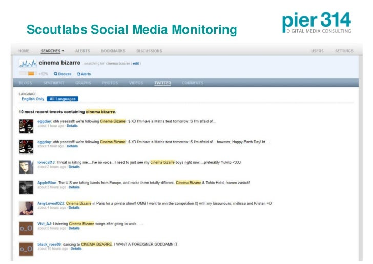 Scoutlabs Social Media Monitoring     © 2009 pier314 GmbH                  27