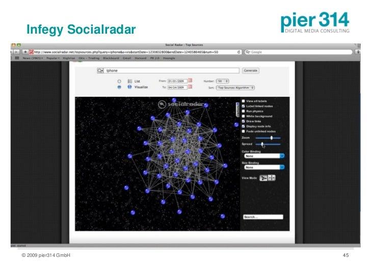 Infegy Socialradar     © 2009 pier314 GmbH   45
