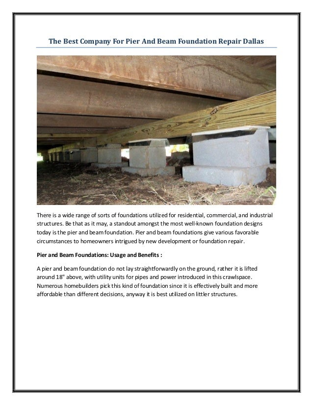 Pier and beam foundation repair dallas