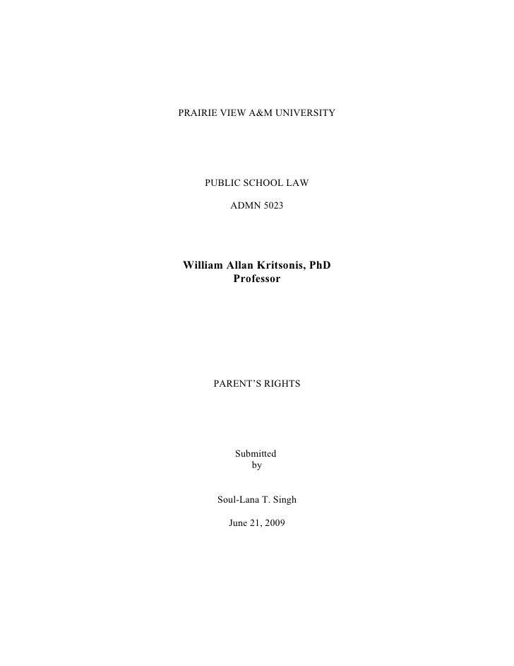 PRAIRIE VIEW A&M UNIVERSITY         PUBLIC SCHOOL LAW          ADMN 5023     William Allan Kritsonis, PhD          Profess...