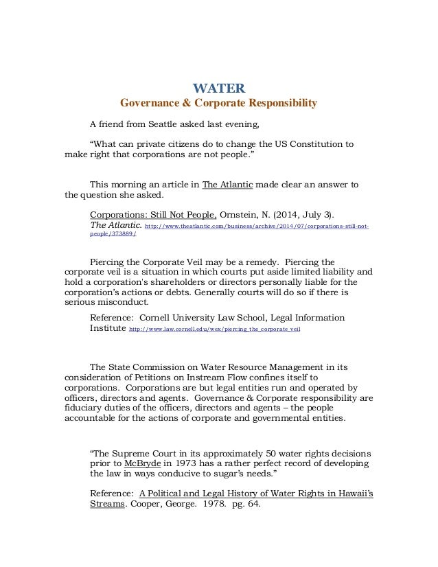 WATER FIDUCIARY DUTIES OF THE STATE OF HAWAI I