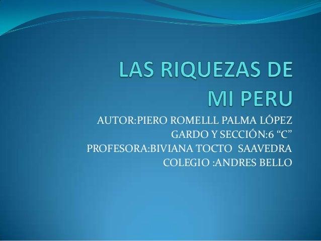 AUTOR:PIERO ROMELLL PALMA LÓPEZ GARDO Y SECCIÓN:6 ''C'' PROFESORA:BIVIANA TOCTO SAAVEDRA COLEGIO :ANDRES BELLO