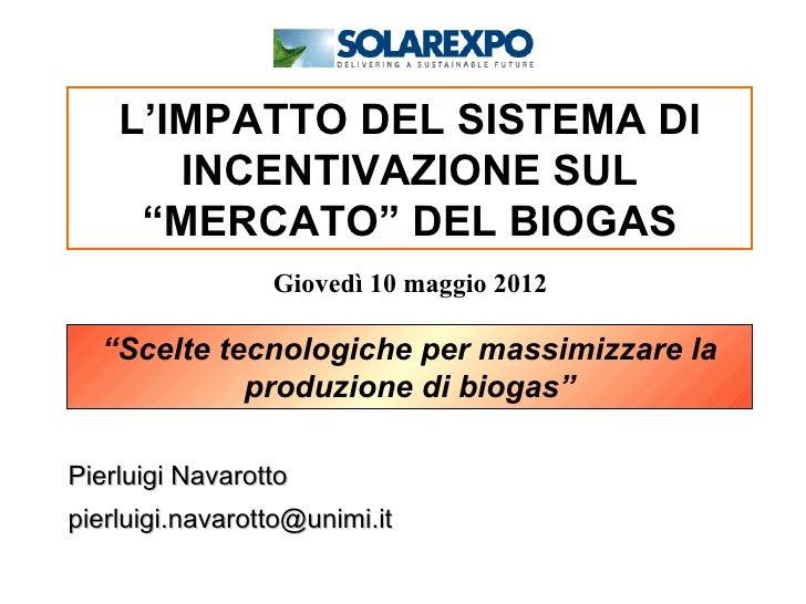 """L'IMPATTO DEL SISTEMA DI       INCENTIVAZIONE SUL     """"MERCATO"""" DEL BIOGAS                 Giovedì 10 maggio 2012  """"Scelte..."""