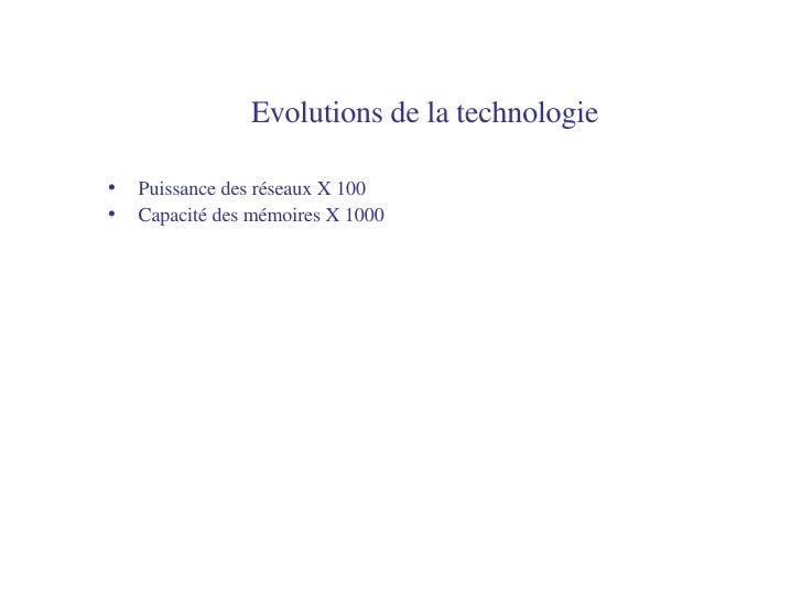 Evolutions de la technologie   <ul><li>Puissance des réseaux X 100 </li></ul><ul><li>Capacité des mémoires X 1000 </li></ul>