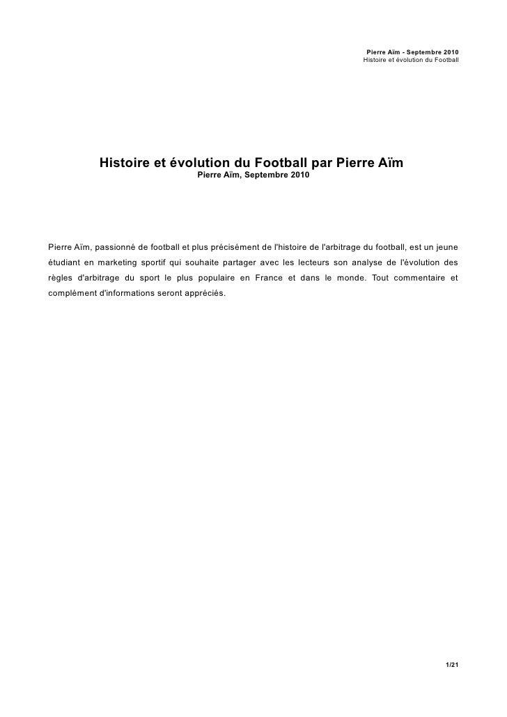 Pierre Aim : Histoire et évolution du Football