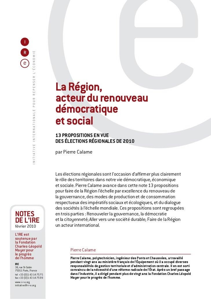 La Région,                           acteur du renouveau                           démocratique                           ...