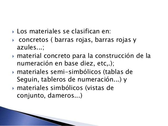  Los materiales se clasifican en:  concretos ( barras rojas, barras rojas y azules...;  material concreto para la const...