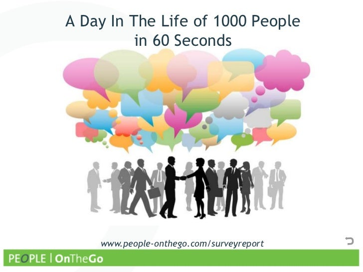 A Day In The Life of 1000 People          in 60 Seconds    www.people-onthego.com/surveyreport