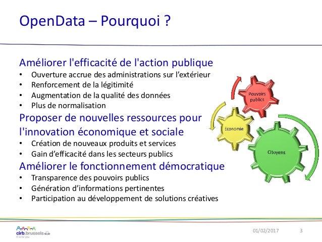 OpenData – Pourquoi ? Améliorer l'efficacité de l'action publique • Ouverture accrue des administrations sur l'extérieur •...