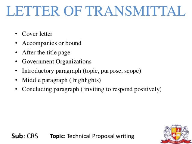 Technical Proposal Writing – Letter of Transmittal for Proposal