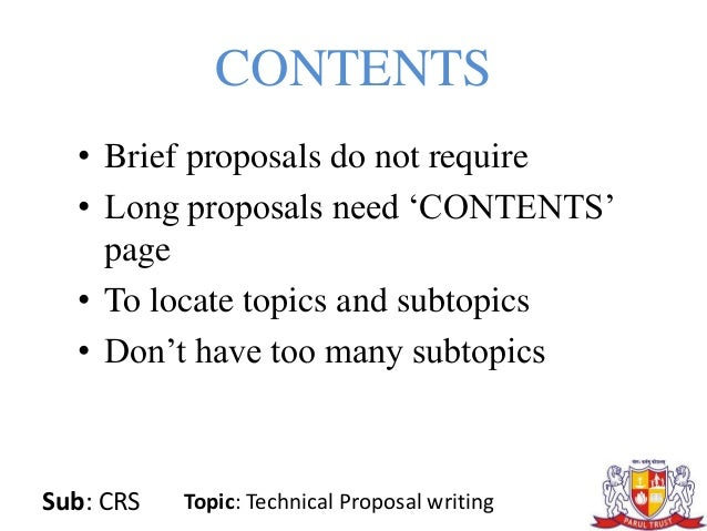 topics for technical proposal